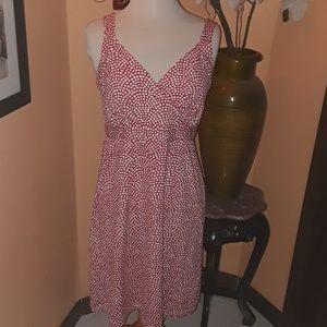 J. Mclaughlin red/wht stretch sundress sz L